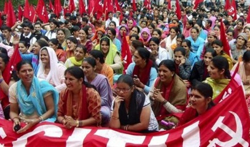 Women Workers at a rally