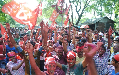 Celebrations after victory in Siliguri Polls