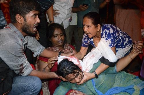 An injured woman activist