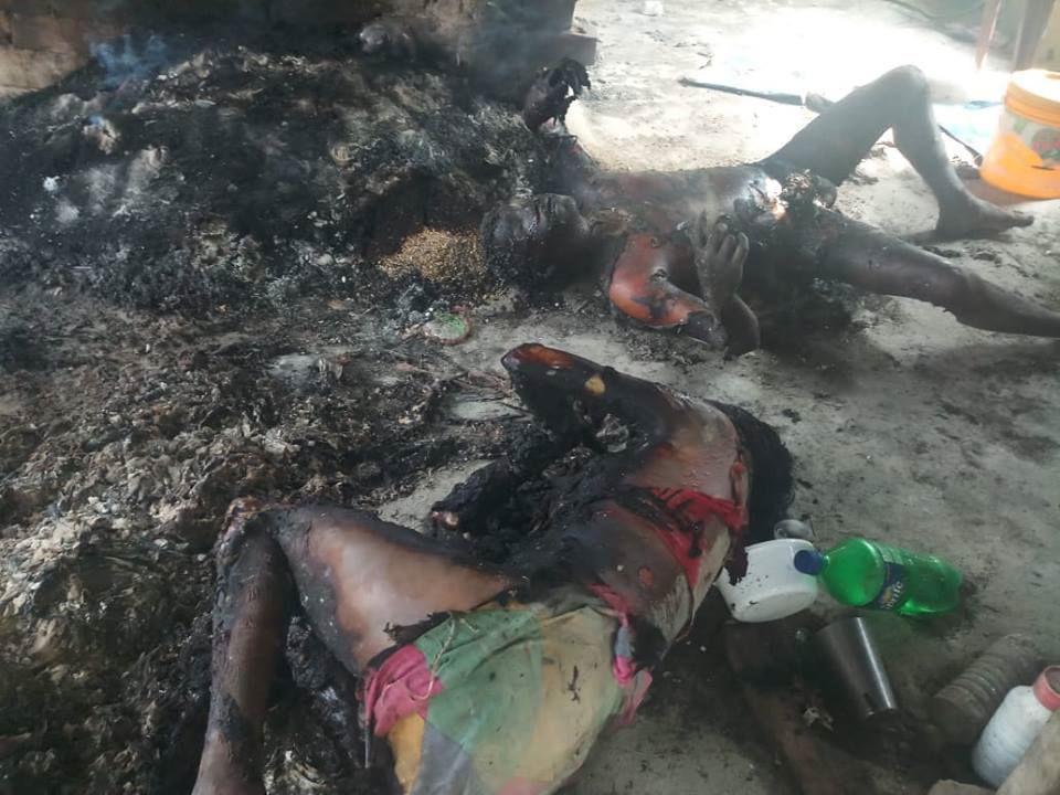 Charred bodies of the couple who were burnt alive